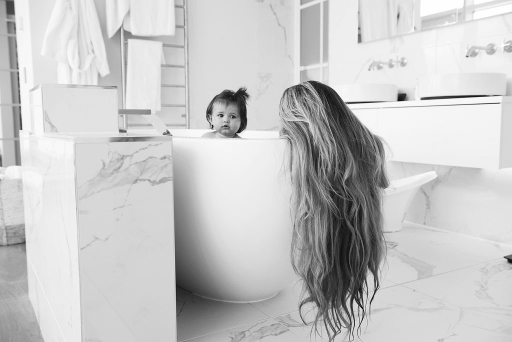 Mother in bath